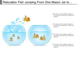 Relocation Fish Jumping From One Mason Jar To Another Flask Tank