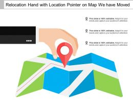 Relocation Hand With Location Pointer On Map We Have Moved