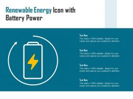 Renewable Energy Icon With Battery Power
