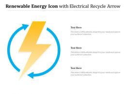 Renewable Energy Icon With Electrical Recycle Arrow