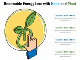 Renewable Energy Icon With Hand And Plant