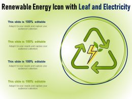 Renewable Energy Icon With Leaf And Electricity
