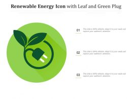 Renewable Energy Icon With Leaf And Green Plug
