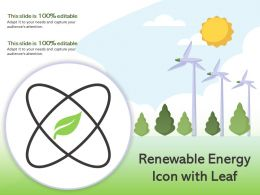 Renewable Energy Icon With Leaf