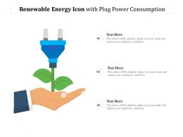 Renewable Energy Icon With Plug Power Consumption
