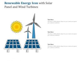 Renewable Energy Icon With Solar Panel And Wind Turbines