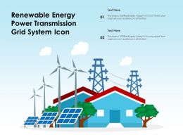 Renewable Energy Power Transmission Grid System Icon