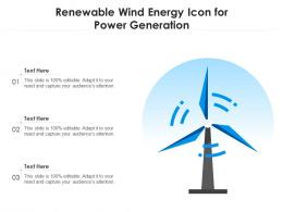 Renewable Wind Energy Icon For Power Generation