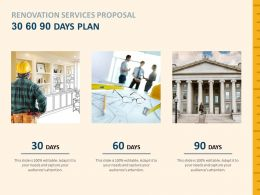 Renovation Services Proposal 30 60 90 Days Plan Timeline Ppt Powerpoint Icons
