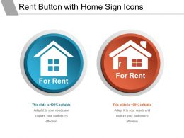 Rent Button With Home Sign Icons