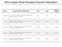 Rent Ledger Sheet Showing Payment Description