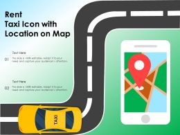 Rent Taxi Icon With Location On Map