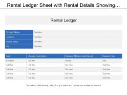 Rental Ledger Sheet With Rental Details Showing Payment Method And Amount