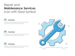 Repair And Maintenance Services Icon With Gear Symbol
