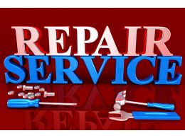 Repair Service Text On Red Background With Screwdriver And Hammer Stock Photo
