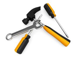Repair Tools Like Hammer Screwdrivers Stock Photo