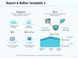 Report And Refine Social Traffic Engagement Ppt Powerpoint Presentation Slides Files