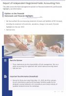 Report Of Independent Registered Public Accounting Firm Presentation Report Infographic PPT PDF Document