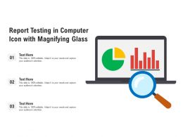Report Testing In Computer Icon With Magnifying Glass