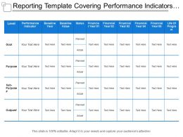 Reporting Template Covering Performance Indicators Levels Status Life Of Program