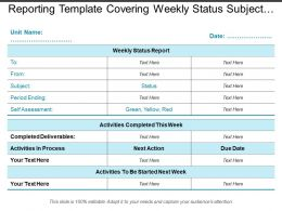 Reporting Template Covering Weekly Status Subject Activities