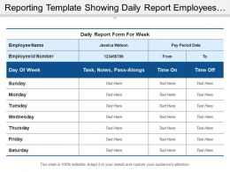 Reporting Template Showing Daily Report Employees Time On And Off
