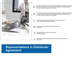 Representations In Distributor Agreement Ppt Powerpoint Presentation Styles Shapes