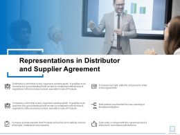 Representations In Distributor And Supplier Agreement Ppt Slides