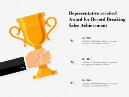 Representative Received Award For Record Breaking Sales Achievement
