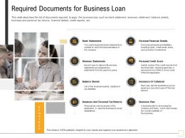 Required Documents For Business Loan Plan Ppt Powerpoint Presentation Ideas Clipart