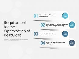 Requirement For The Optimization Of Resources