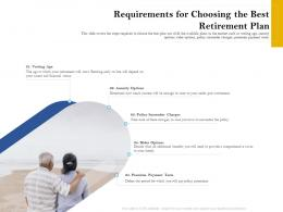 Requirements For Choosing The Best Retirement Plan Retirement Analysis Ppt Samples