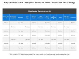 Requirements Matrix Description Requestor Needs Deliverables Test Strategy
