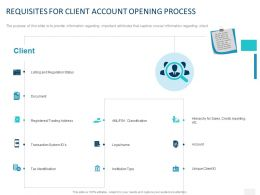 Requisites For Client Account Opening Process Ppt Powerpoint Presentation Icon Rules