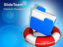 Rescue Circle With Blue Folder Lifeguarde Powerpoint Templates Ppt Themes And Graphics 0113