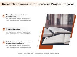 Research Constraints For Research Project Proposal Ppt Powerpoint Presentation Template