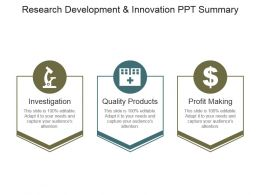 Research Development And Innovation Ppt Summary