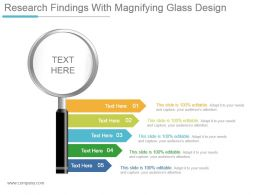 Research Findings With Magnifying Glass Design Ppt Diagrams