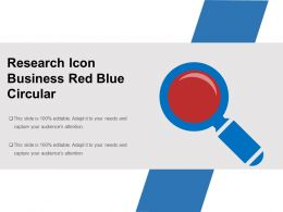 Research Icon Business Red Blue Circular