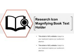 Research Icon Magnifying Book Text Holder