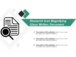 Research Icon Magnifying Glass Written Document