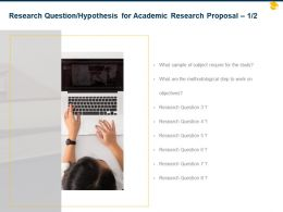 Research Question Hypothesis For Academic Research Proposal Ppt Powerpoint Styles