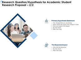 Research Question Hypothesis For Academic Student Research Proposal Testing Ppt Powerpoint Aids