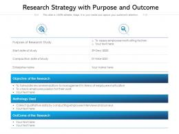Research Strategy With Purpose And Outcome