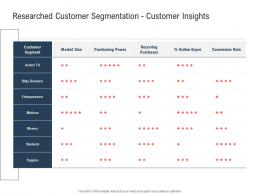 Researched Customer Segmentation Customer Insights Ppt Powerpoint Presentation Show Format