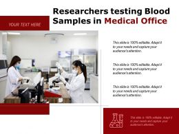 Researchers Testing Blood Samples In Medical Office
