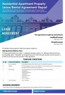Residential Apartment Property Lease Rental Agreement Report Presentation Report Infographic PPT PDF Document