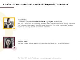 Residential Concrete Driveways And Paths Proposal Testimonials Ppt Powerpoint File Show