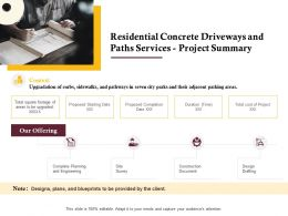 Residential Concrete Driveways And Paths Services Project Summary Ppt Powerpoint Show