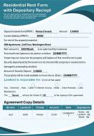 Residential Rent Form With Depositary Reciept Presentation Report Infographic PPT PDF Document